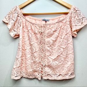 Charlotte Russe Floral Lace Up Pink Top